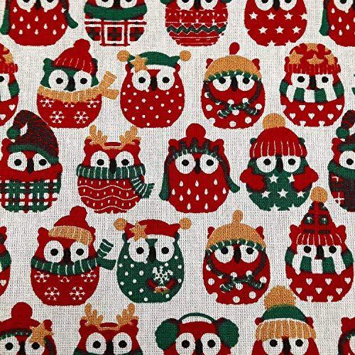 Stoff Baumwolle ecru Eulen Winter Weihnachten rot grün gold 0,5 Weihnachtsstoff