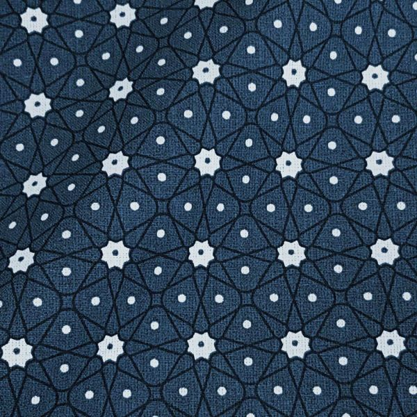 Stoff Baumwollstoff Japan Mosaik Blümchen dunkelblau tintenblau Ceramik Kimono 0,5