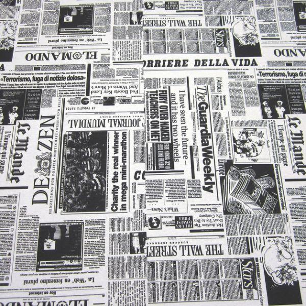 Stoff Zeitung schwarz weiß Baumwolle pflegeleicht