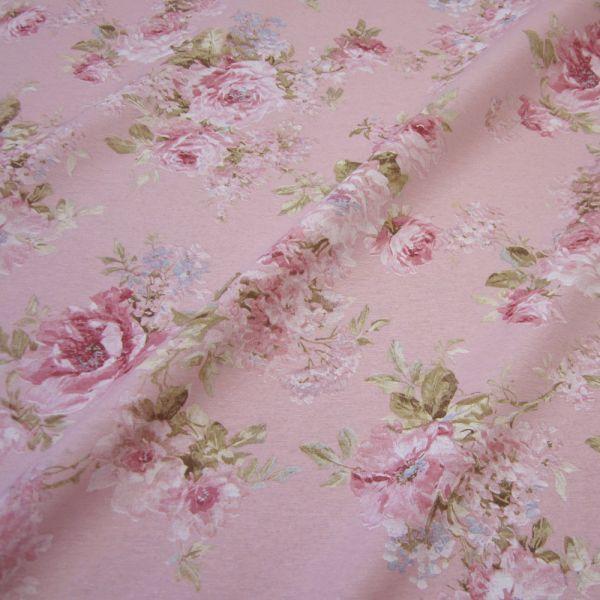 Stoff Baumwolle pflegeleicht rosa Rose Teerose Dekostoff