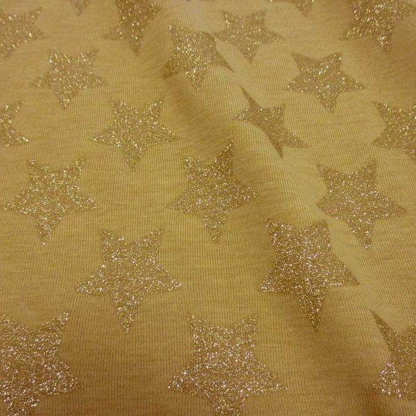 Stoff Meterware Baumwolle Jersey Curry gelb goldSterne Glitzer Glitter Glanz Trend