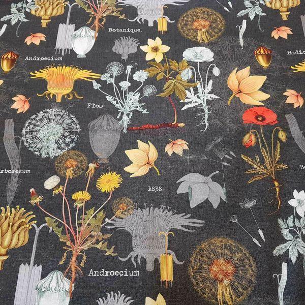 Stoff Meterware Baumwolle Löwenzahn Mohn Schulkarte anthrazit grau Dekostoff