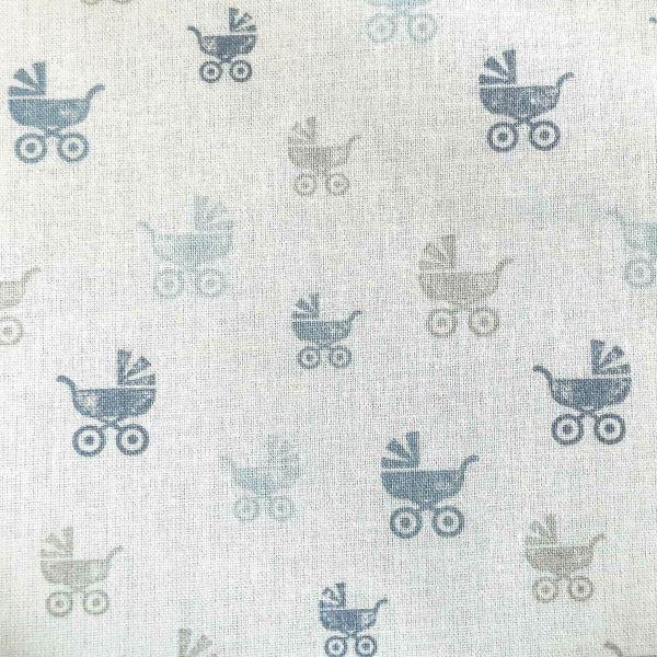 Stoff Baumwollstoff weiss Stempel Kinderwagen blau grau 0,5