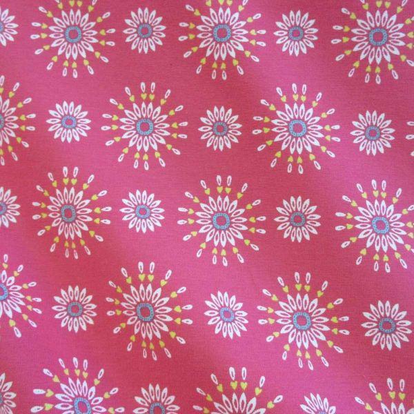 Stoff Meterware Jersey koralle Blumen Blüten Kleiderstoff