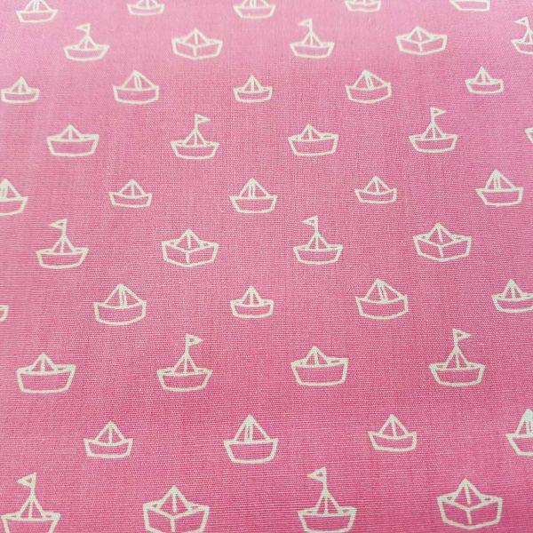 Stoff Baumwollstoff Papierschiffchen rosa weiss