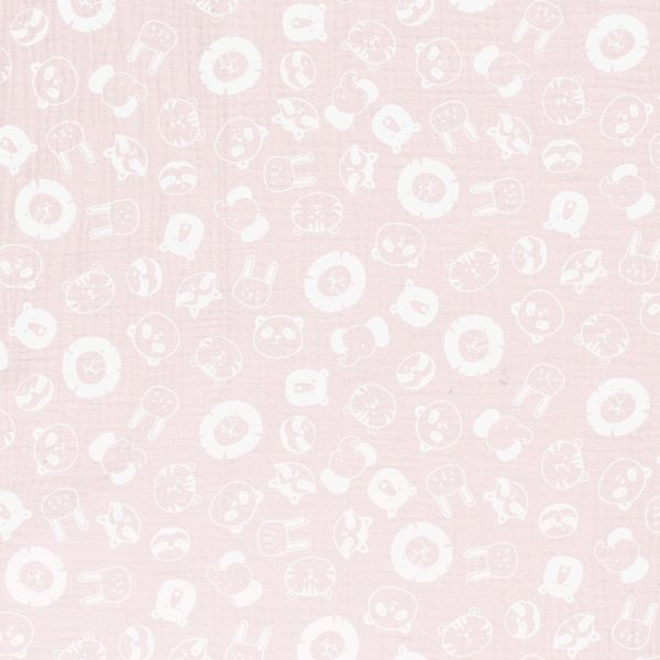 Stoff Baumwolle Tiere Musselin Mulltuch rosa pastell weiss