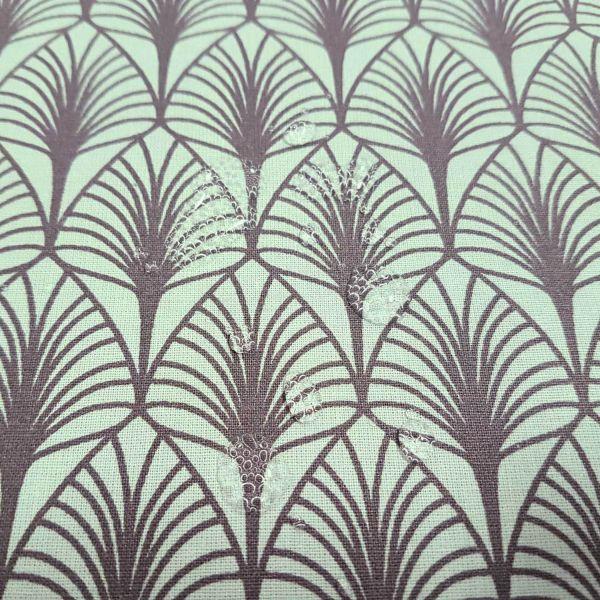 Stoff Baumwolle beschichtet Artdeco GASBY glacier mint grau Blätter Tischdecke