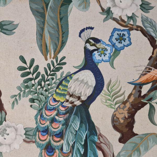 """Stoff Baumwolle """"Vögel und Pflanzen"""" Pfau viktorianisch Leinenoptik 0,5"""
