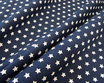 Kuerzstück Stoff Baumwollstoff Stern Sterne marineblau weiß 9 mm 0,50m x 1,45m