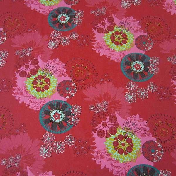 Stoff Baumwolle Ornament Mandala rot pink petrol