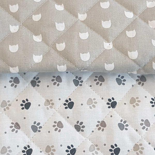 Stoff Meterware Steppstoff Baumwolle Doubleface Pfötchen und Katzen beige weiss 0,5