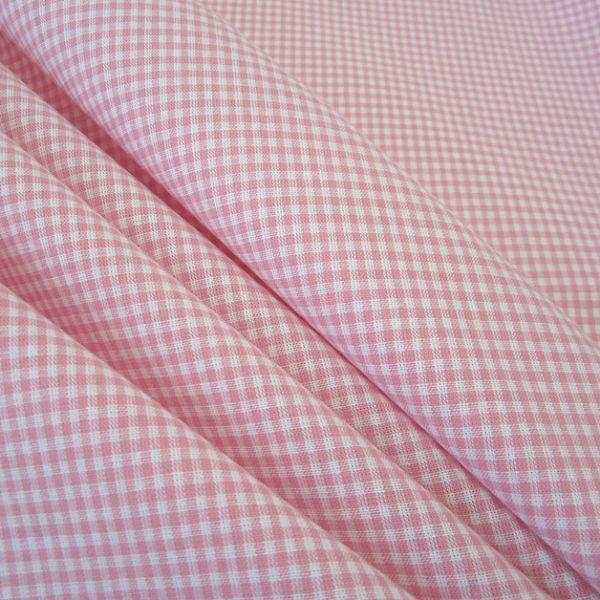 Stoff Baumwolle Vichykaro rosa weiß 2 mm kariert Karo Meterware