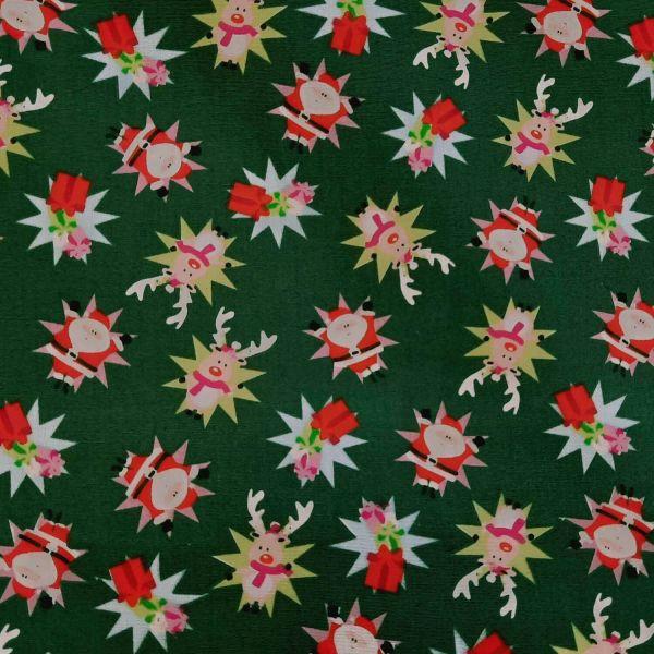 Stoff Meterware Weihnachtsstoff Weihnachtsmann Rentier Stars dunkelgrün bunt 0,5