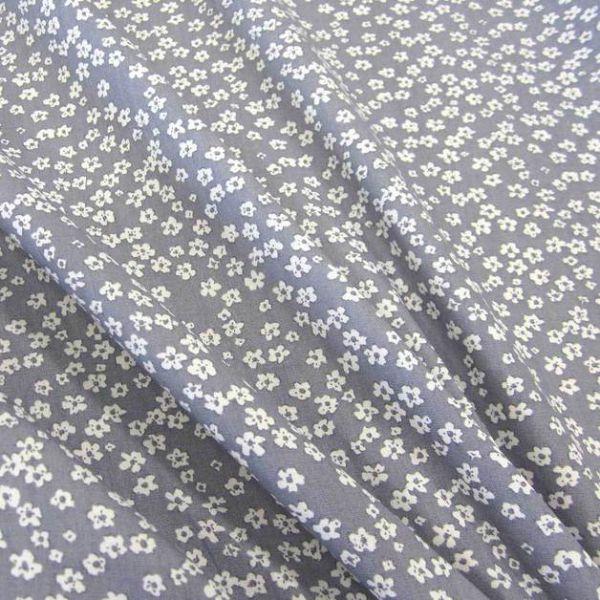 Stoff Baumwollstoff Mille Fleur Streublümchen Blumen grau weiß