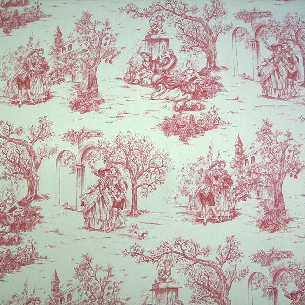 stoff toile de jouy baumwolle rot natur rips werthers stoffe stoffe sind unsere leidenschaft. Black Bedroom Furniture Sets. Home Design Ideas