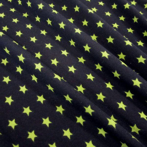 Stoff Baumwolle Jersey Sterne Stern marine kiwi