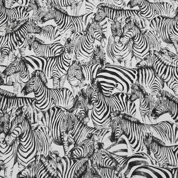 Stoff Meterware Baumwolle Jacquard Zebra schwarz weiß beidseitig Dekostoff