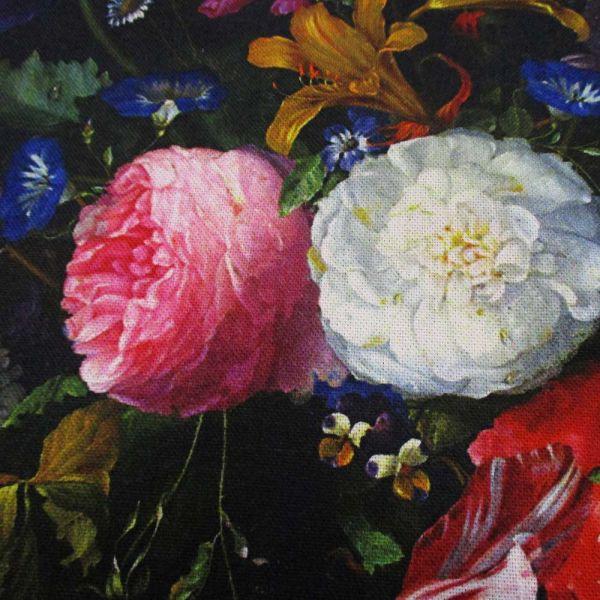 """Stoff Baumwolle Blüten """"alte Meister"""" schwarz bunt"""