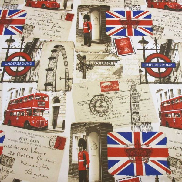 Stoff Meterware London Bus PES Dekoration
