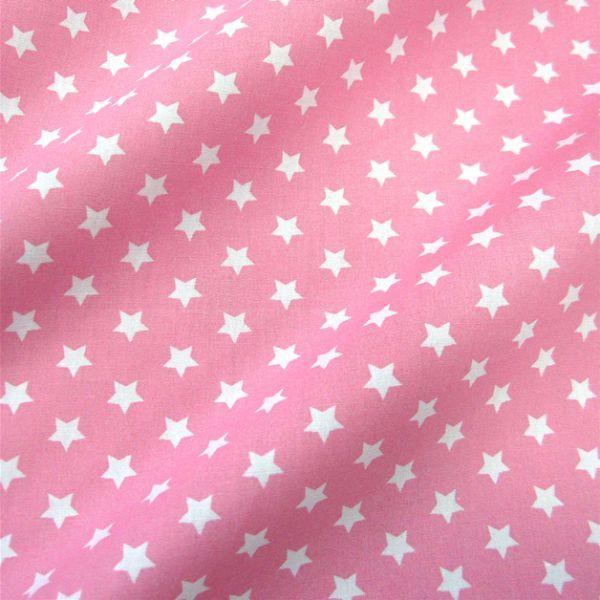 Stoff Baumwollstoff Stern Sterne rosa weiß 9 mm neu