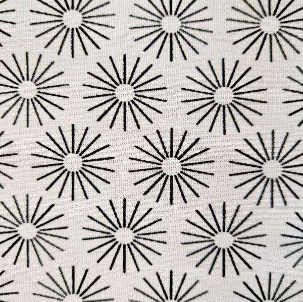 Stoff Baumwollstoff weiss Blumen Schneeflocken schwarz 0,5