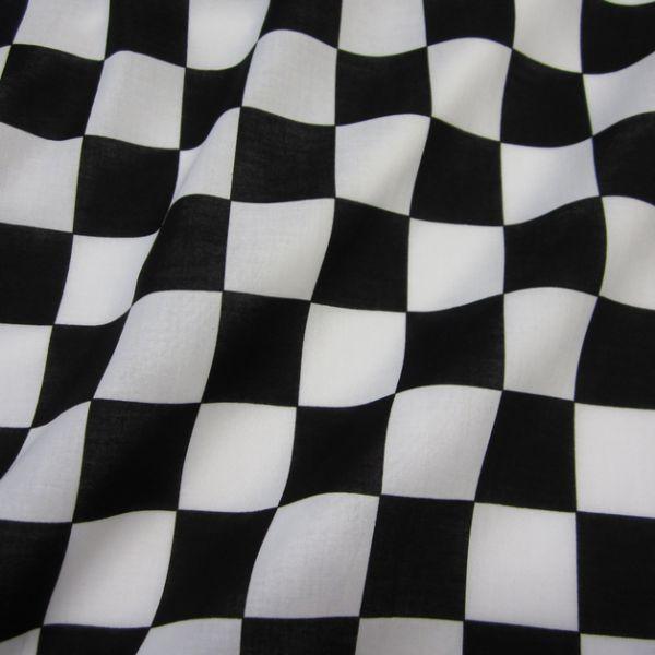 Stoff Baumwollstoff Zielflagge Formel 1 Schachbrett Carrera schwarz weiß