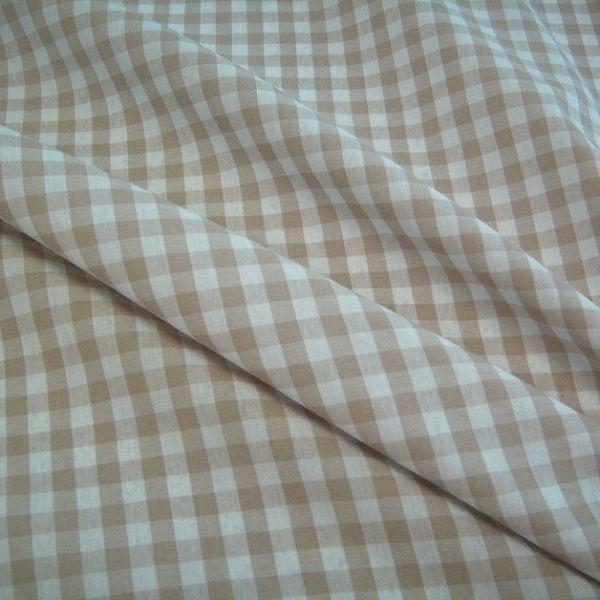 Stoff Baumwolle Bauernkaro beige weiß kariert Karo Meterware 0,5