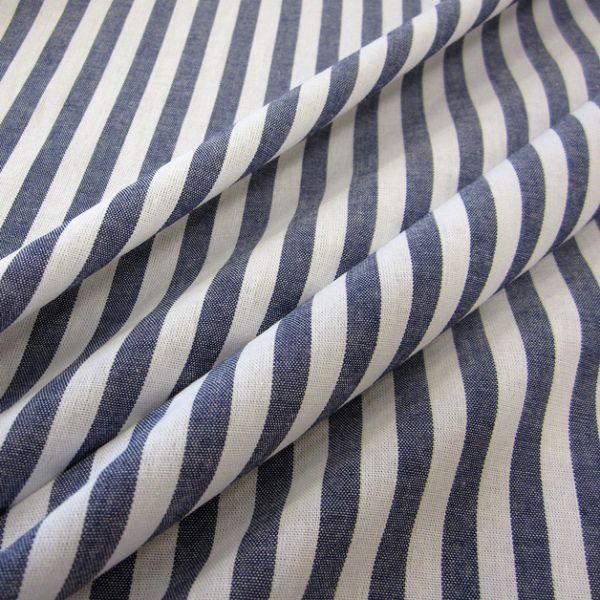 Stoff Baumwolle marine blau weiß Streifen 1cm gestreift durchgewebt