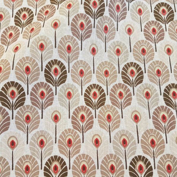 Stoff Meterware Baumwolle natur Pfauenfeder Federn aus Frankreich