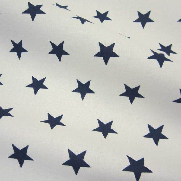 Stoff Baumwolle Sterne Stars weiß dunkelblau marine blau groß 2,2cm