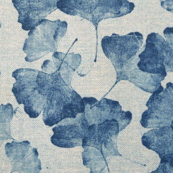 Stoff Meterware Baumwolle pflegeleicht hellblau indigo Ginko Siebdruck 0,5