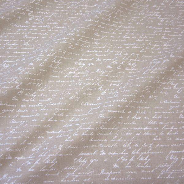 Stoff Baumwolle beige taupe Schrift Handschrift