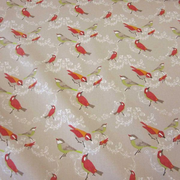Stoff Baumwolle beige Vogel rot grün orange Vögel Frankreich