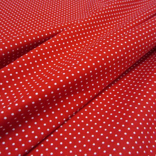 Stoff Baumwollstoff Punkte rot weiß S 2 mm