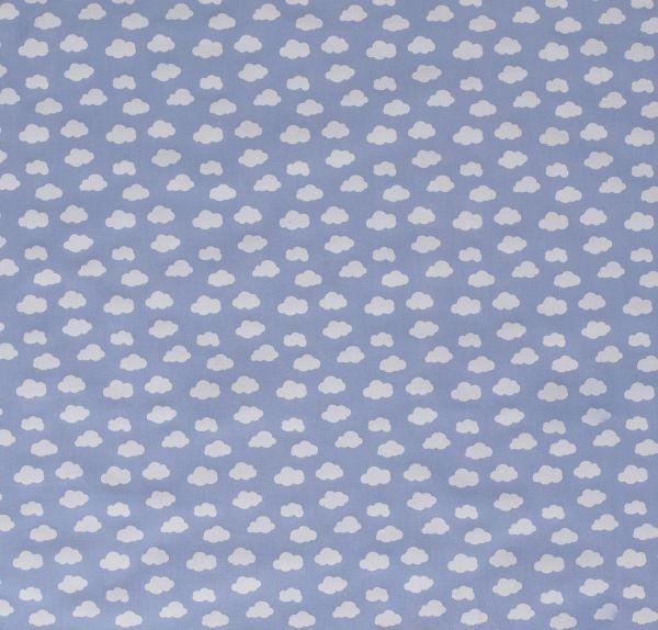Stof Meterware Baumwolle hellblau wolken weiss klein Popeline