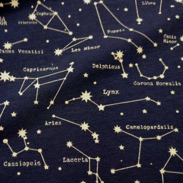 Stoff Jersey Baumwolle Sternbild Astronomie Sternenhimmel