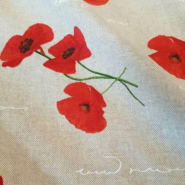 Stoff pflegeleicht natur Mohnblume Hnadschrift rot weiss