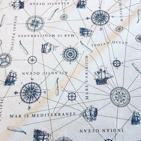 Stoff pflegeleicht Nautik Seekarte maritim weiß blau 0,5