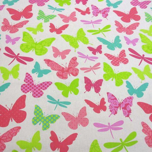 Stoff Baumwolle weiss Schmetterlinge gross bunt
