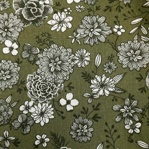 """Stoff Baumwolle Blumen """"Floral"""" khakigrün weiss schwarz 0,5"""