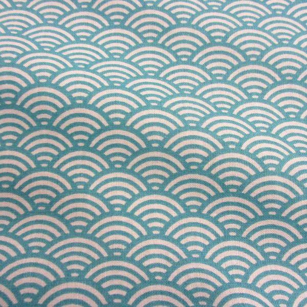 Stoff Baumwolle Japan Seigaiha Wellen lagunenblau weiß