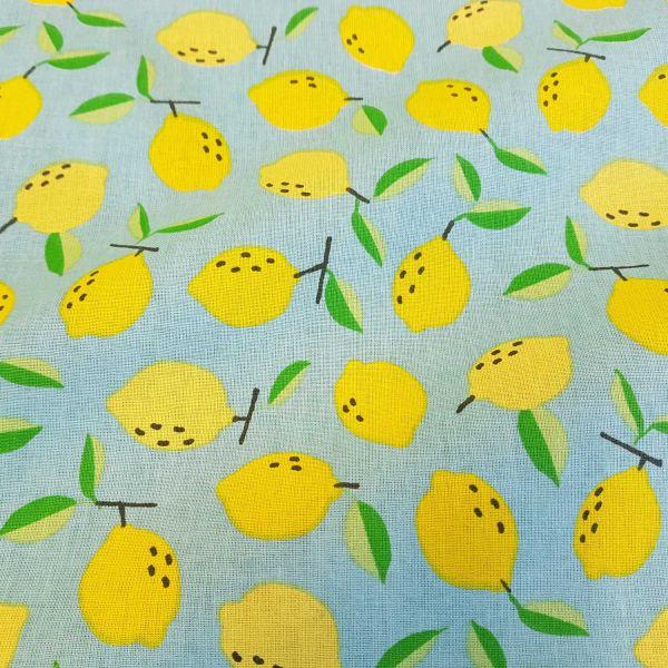 Kurzstück Stoff Baumwolle Meterware türkis Zitronen Dekostoff 0,85m x 1,60m