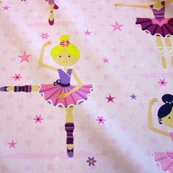 Stoff Baumwolle Ballerina Balletttänzerin Ballett Tanzen rosa pink Mädchenstoff