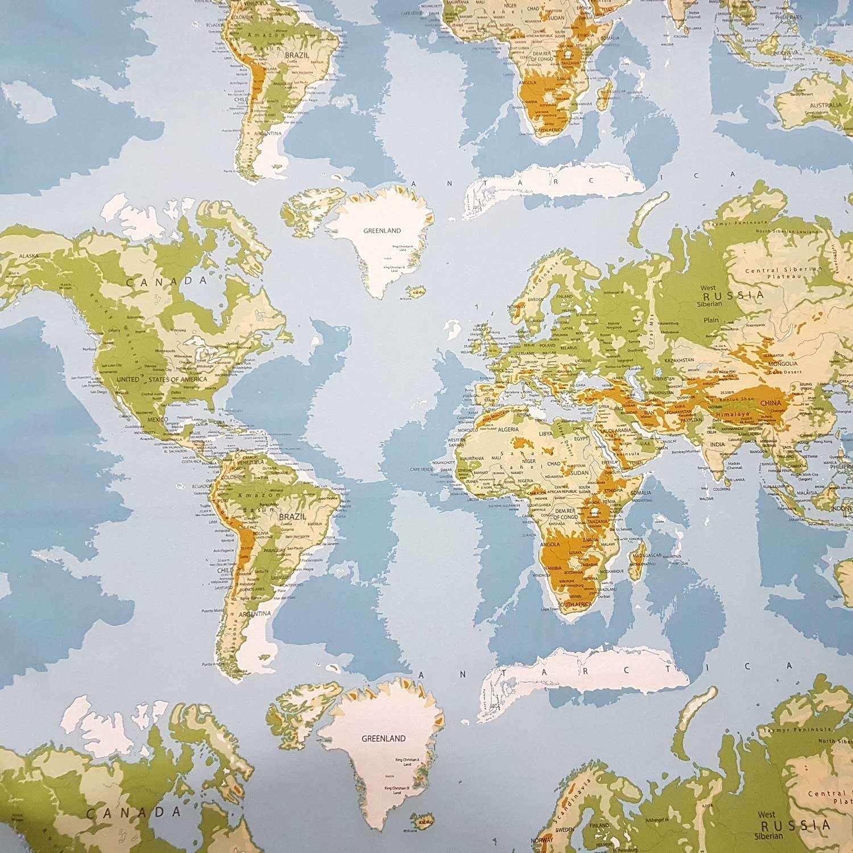 Baumwollstoff Weltkarte Hellblau Grun Erde Karte Kontinente