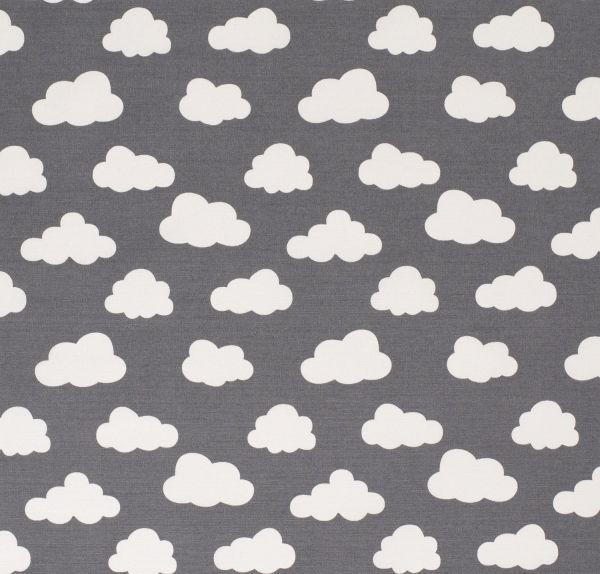 Stoff Baumwolle Meterware dunkelgrau Wolken weiss stabil