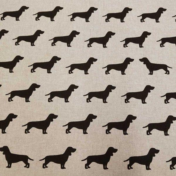 Stoff Baumwollstoff pflegeleicht natur schwarz Dackel Hund 0,5