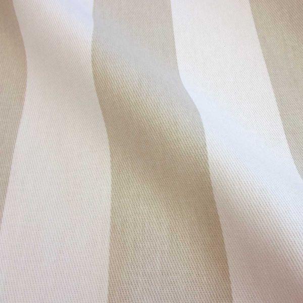 Kurzstück Stoff Baumwollstoff Blockstreifen Kanadastreifen stone hellbeige weiß 5cm 0,44m x 1,60m